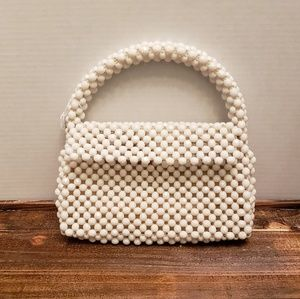 Beautiful Vintage White Beaded Purse